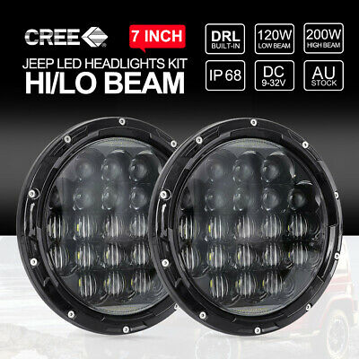 Pair 7 inch CREE LED Headlights High Low Beam DRL For Jeep Wrangler TJ JK 97-17