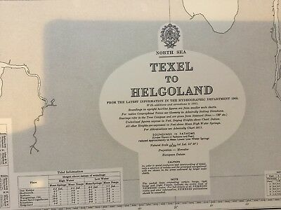 Genuine 60s Vintage Nautical Chart North Sea Texal to Helgoland
