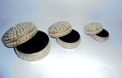 Set of 3 Trinket Boxes Hand Crafted Jewelry Box Home Decor India Art Diwali Gift
