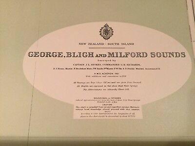 Genuine 60s Vintage Nautical Chart George, Bligh & Milford Sounds New Zealand