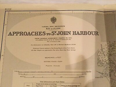 Genuine 60s Vintage Chart Canada New Brunswick St. John Harbour