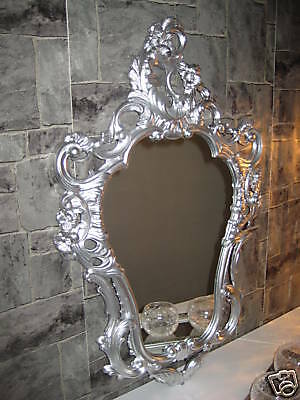 Wall Mirror Oval Silver Baroque 50X76 Bathroom Antique Rococo Stile