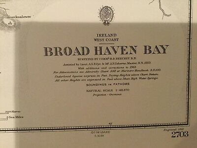 Genuine 60s Vintage Nautical Chart Ireland West Coast Broad Haven Bay