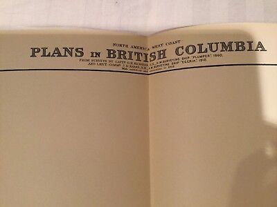 Genuine 60s Vintage Nautical Chart Map Plans of British Columbia