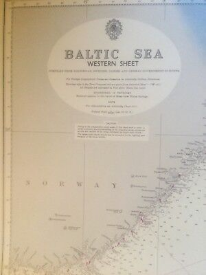 Genuine 60s Vintage Chart Map Baltic Sea Western Sheet