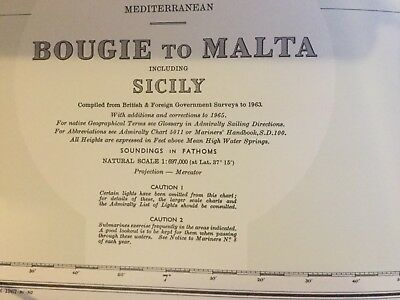Genuine 60s Vintage Nautical Chart Map Boogie To Malta Including Sicily