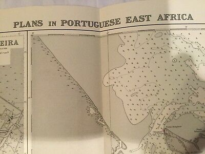 Genuine 60s Vintage Nautical Chart Map Plans Of Portuguese East Africa