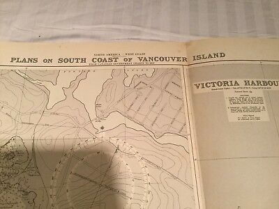 Genuine 60s Vintage Nautical Map Vancouver Island, Victoria & Esquimalt Harbour