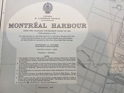 Genuine 60s Vintage Nautical Chart Canada St Lawrence Seaway Montreal Harbour