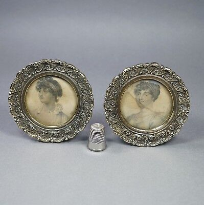 Top Quality Georgian Pair Miniature Brass Frames, George III Daughters 1827