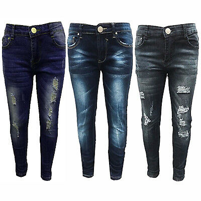 Girls Kids Stretchy Jeans Jeggings Girls Ripped Skinny Pants Denim Jeans 5 -12