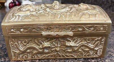 Antique Early 1900's CHINESE BRASS Cigarette /Trinket  BOX w DRAGONS, Wood Lined