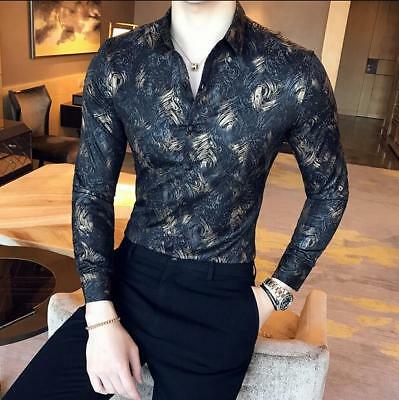 Mens Cotton Rose Floral Printed Lapel Short Sleeves Casual Shirts Plus Tops D390
