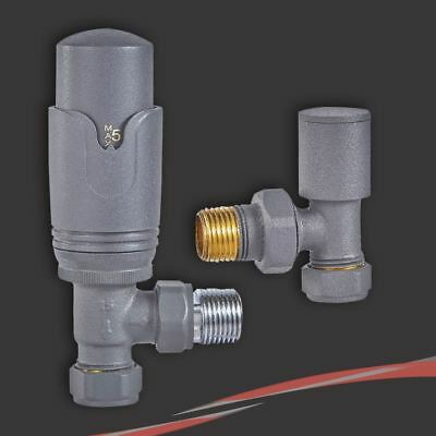 Angled Anthracite Thermostatic TRV Valves for Radiators & Towel Rails (Pair)