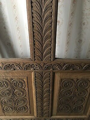 Antique 19th Century Carved Oak Wall Panelling / Door