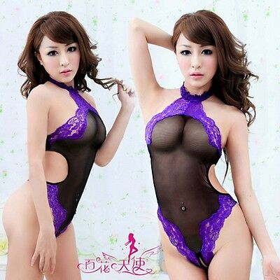 Sexy Lingerie BODY hot Intimo Completini Pizzo fetish catsuit bodystocking viola