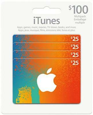 $100CAD/ CANADIAN Apple iTunes Gift Card Certificate, Worldwide Delivery -...