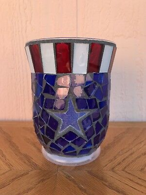 NEW Home Interiors American Stars & Stripes  Mosaic Candle Holder Fourth of July