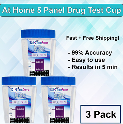 5 Panel At Home Drug Test Kits -(3 Pack) Home Urine Drug Test  - Free Shipping!