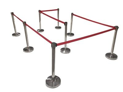 """(8) Pack of Retractable Crowd Control Barrier Posts with Black or Red 6'6"""" Strap"""