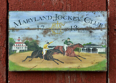 "Medium-Size Repro-Original Art - Tavern Trade Sign ""Maryland Jockey Club"""