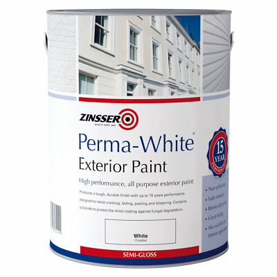 Zinsser Perma-White Exterior Semi-Gloss Mould Resistant Paint Durable 15 Yr 2.5L