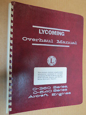 RARE ORIGINAL Lycoming Overhaul Manual O-360 O-540 + Other Aircraft Engines 1960