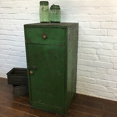 Industrial Vintage Engineers Metal Factory French Table Storage Bedside Cabinet