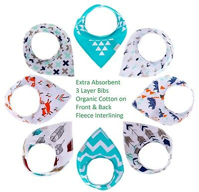 Baby Bandana Drool Bibs for Boys and Girls Unisex 8 Pack Gift Set 100%Organic