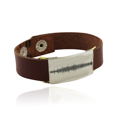 Engraved Sound Wave Leather Cuff Bracelet - Audio File Heartbeat