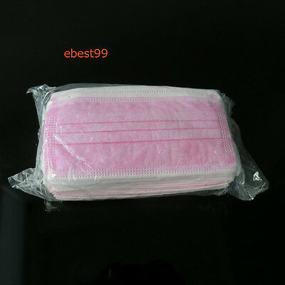50 pcs 3-Ply Ear Loop Disposable Surgical  Flu  Mask Bacterial Filter  Pink
