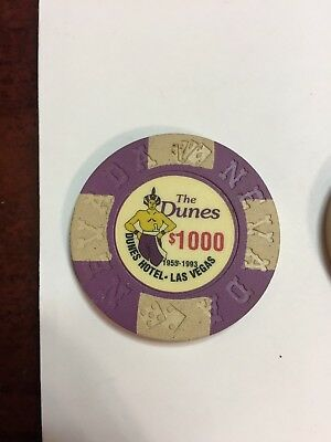 The Dunes Hotel and Casino $1000 Commemorative Chips Las Vegas NV