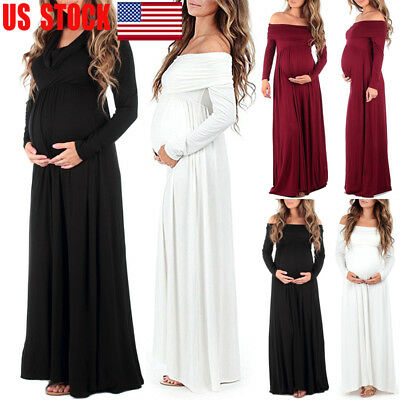 Maternity Long Maxi Dress Gown Props Pregnant Womens Photography Photo Shoot USA