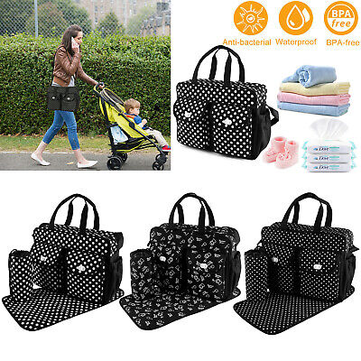 Practical Mummy Bag Baby Diaper Bag Mommy Nappy Changing Handbag Tote Black New