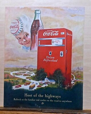 1950 magazine ad for Coca-Cola soda - giant soda machine, Sprite Boy