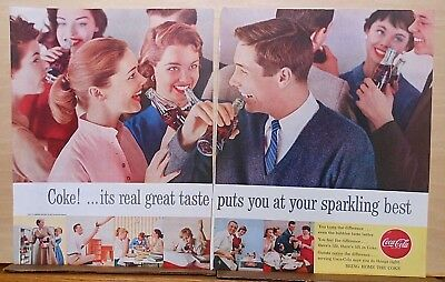 1956 two page magazine ad for Coca-Cola - Puts you at your sparkling best