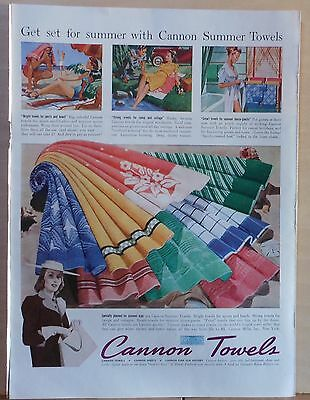 Vintage 1940 magazine ad for Cannon Towels - Get Set For Summer, colorful ad