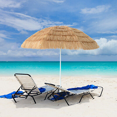 7ft Hula Thatched Tiki Umbrella Hawaiian Style Beach Umbrella, Natural Color