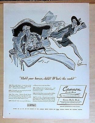 1940 magazine ad for Cannon Sheets - Hurst illustration, woman rushes to sale