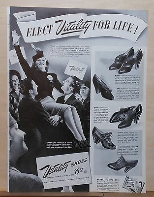 1940 magazine ad for Vitality Shoes - Elect Vitality for Life, Election time ad