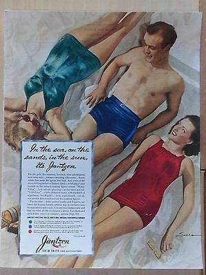1940 magazine ad for Jantzen Swim Suits - color photo of beachgoers by Saara