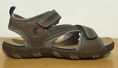 Geox Sandals Child Leather Beige And Blue Fastening With Tears Transpiring