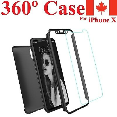 For iPhone X 360 Case - Slim Full Hard Cover + Tempered Glass Screen Protector