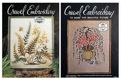 Lot of Two Vintage Elsa Willians Crewel Embroidery Kits Fern Fronds Chinese Tree