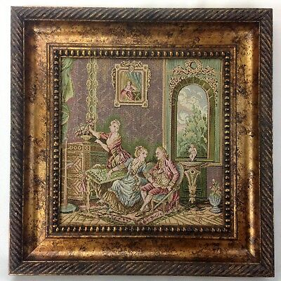 Rococo Framed Tapestry Hand Made Vintage Italian Baroque Gorgeous 51 cm X 51 cm