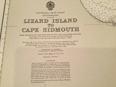 Genuine 70s Vintage Nautical Charts Lizard Island to Cape Sidmouth