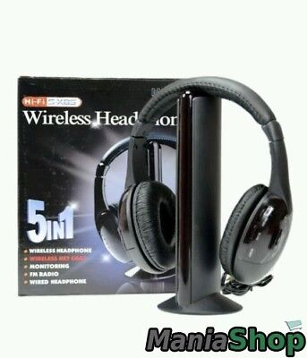 CUFFIE STEREO WIRELESS 5 IN 1 SENZA FILI WIFI CUFFIA PER PC TV Mp3 ... 88e49f4511f8