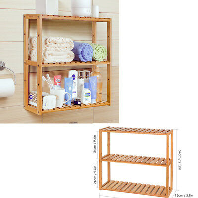 3 Tier Wall Bamboo Shelf Storage Rack Bathroom Kitchen Organiser Bookshelf New