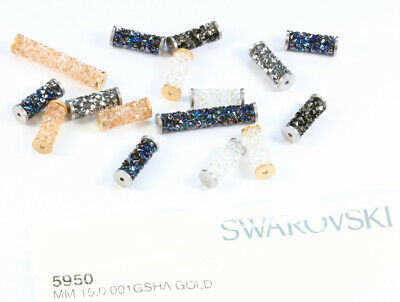 Genuine SWAROVSKI 5950 Fine Rock Tube Beads with Metal Endings * Many Colors
