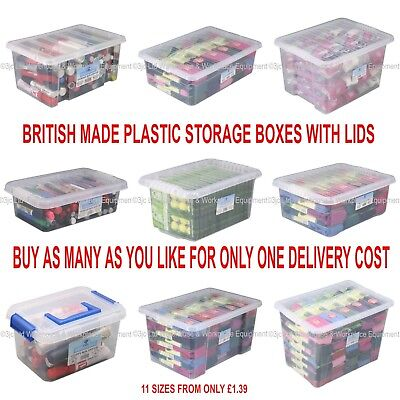 NEW British Made Clear Plastic Storage Box Boxes With Lids CHOICE OF 11 SIZES